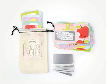 NEW! 24 Scratch-off Lunchbox Notes  // Mini Cotton Drawstring Bag