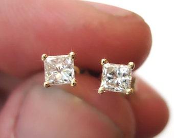 Princess Cut Diamond Gold Stud Earrings, Diamond Stud Earrings, Square Diamond Earrings, Diamond Earrings, Stud Earrings