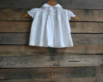Vintage Children's White Smocked Dress with Flowers