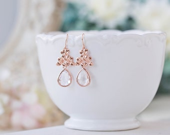 Rose Gold Lilac Flower Clear Crystal Dangle Earrings Wedding Jewelry Bridal Earrings Bridal Party Bridesmaids Earrings Maid of Honor Gift