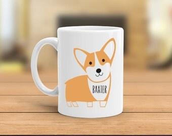 Personalize dog mug, personalize corgi mug, custom name corgi mug