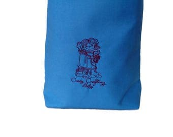 Medium Blue Crazy Crafting Lady Embroidered Yarn Bag Project Tote S311