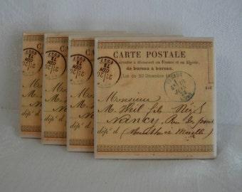 Postcard Coasters Ceramic Tile Drink Coasters Set of 4 / Vintage French Postcards Carte Postal Coasters Set / Ceramic Tile Coaster Set