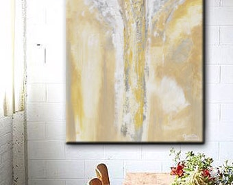 GICLEE PRINT Art Abstract Angel Painting Oil Painting Home Decor Christmas Gift Wall Decor Angel Wings Gold Grey Spiritual Art- Christine