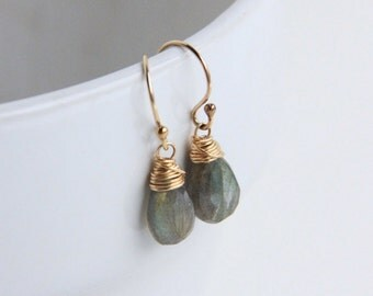 Labradorite Stone Earrings, 14k Gold Filled Wire Wrapped Jewelry, Green Flash