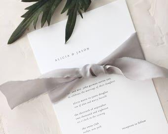 Classic Wedding Invitation Sample - Alicia | Minimalist Wedding Invitation | Gray | Grey Wedding Invitations |  Typewriter Wedding Invites