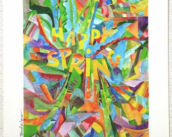 HAPPY SPRING - print of painted cut paper collage