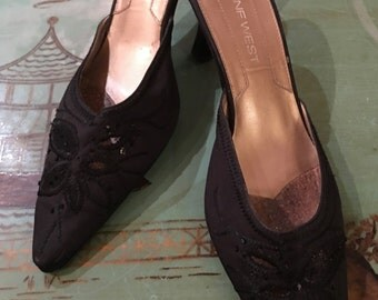 Black Satin Beaded Slide Mule Shoes by Nine West Size 7 1/2 M