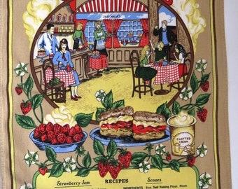 Vintage Tea and Scones Kitchen Towel by Lamont - Strawberry Jam Scones Recipe Tea Dish Towel - English Cottage Cream Teas Tea Time - Gift