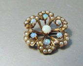 Antique Opal and Seed Pearl 10k Brooch Pendant, Victorian, Yellow Gold