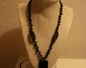 Beautiful long beaded Boho Chic gemstone adorned upcycled vintage statement necklace with adjustable C clasp