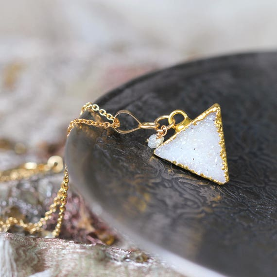 White Druzy & Diamond Necklace - Geometric Necklace
