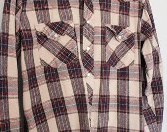 Mens Plaid Shirt - Plaid Cotton Flannel Work Shirt - Vintage Plaid Button up - Pearl Snap Buttons - Heavy Duty - Big Mac Authentic - XLT