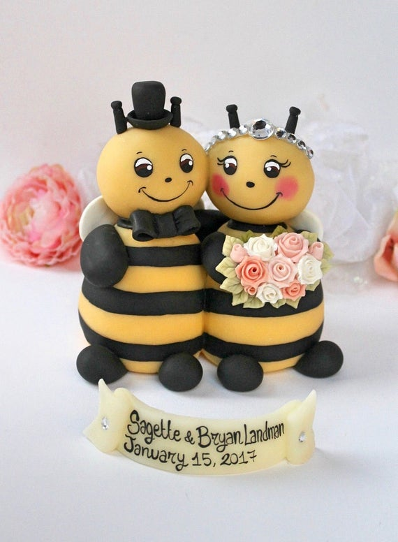 Wedding Bee Cake Topper Bumble Hugging Bride
