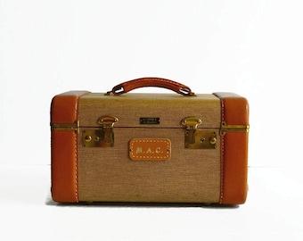 vintage tweed train makeup case 1950s travel luggage