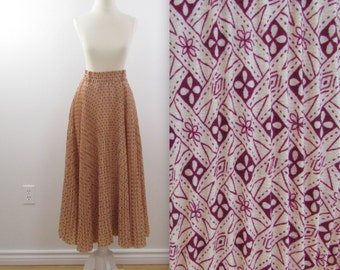 Robby Blush Pleated Maxi Skirt - Vintage 1970s Full Circle Skirt in Nude w/ Burgundy Print in Small
