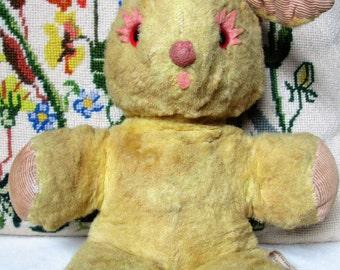 bunny rabbit - sawdust stuffed animal - easter springtime - vintage mid-century - haunted -