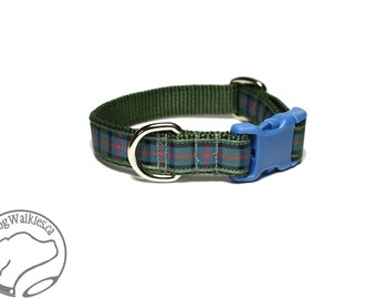 "NEW width - Flower of Scotland Tartan Dog Collar / 3/4"" (19mm) Wide - Martingale or Side Release / Choice of collar style and size"