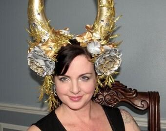 GOLDEN CALF XL Gold and Silver Demon Devil Horns Headdress Hair Adornment