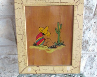 Mexican Art 1920's Art Mexican Boy and Cactus Painting Vintage Art Texas Folk Art