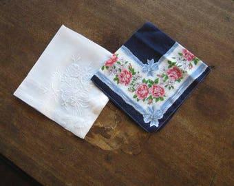 2 Vintage Hankies:  Embroidered Rose White Linen Hankie + Red Rose Print Blue Border Open Center Hankie; Free Shipping/U.S.