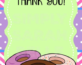 Donut Thank You Card // Instant Download **PRINT AT HOME**
