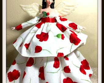 Latina Angel Doll, Hispanic Angel for Home Decor, OOAK Porcelain Angel Tree Topper, Dark Haired Angel Doll