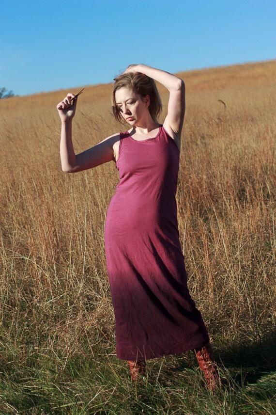 Dip Dyed Goddess Dress, American Grown Organic Cotton Jersey Dress, Long Slip Dress, Eco Friendly Summer Dress