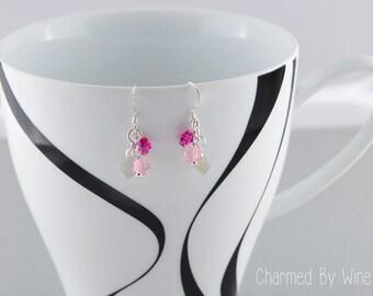Pink Drop Earrings; Swarovski Flower Earrings