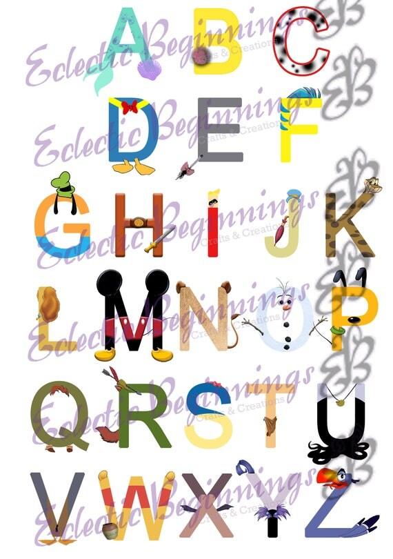 Alphabet JPG Digital File, Diy Print Clip Art-Disney Character ...