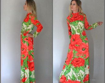 Vintage Floral Maxi Dress Long Sleeve 60s Poppy Print Big Red Coral Flowers