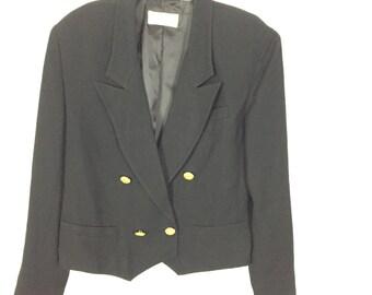 Plus Size Black Liz Claiborne Double Breasted Jacket/ Size 12