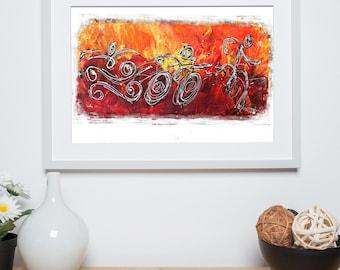 Red Splash Triathlon- Triathlon Art Print - Ironman Triathlon wall decor - Gift for Triathlete-