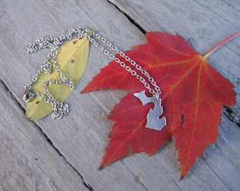 Michigan Necklace, Michigan Pendant, Aluminum Michigan Pendant, State of Michigan Necklace, Michigander Necklace, I love Michigan