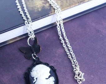 black & white cameo necklace vintage cameo pendant victorian lady charm dark patina brass butterfly half size necklaces