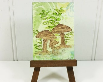 Woodland Mushrooms ACEO, Whimsical Brown Fungi Watercolor ACEO Miniature Art