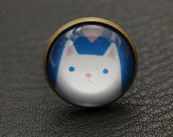 White cat ring, cat ring, cute cat, (2020B)