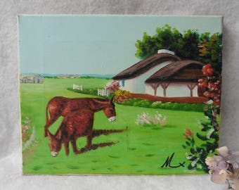Vintage French Oil CanvasPainting Donkeys in Breton meadow, Landscape, Folk, Naive, Rustic, Country, France, Wildlife, Brittany, Cottage