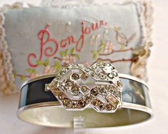 Vintage Art Deco Rhodium and Black Enamel Paste Rhinestone Buckle Bangle Bracelet