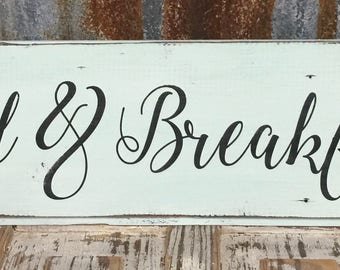 Bed and Breakfast Hand Painted Shiplap sign/mint and black
