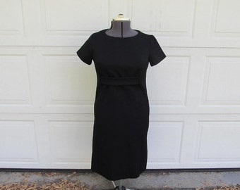 1970s mod little black dress, large vintage dress