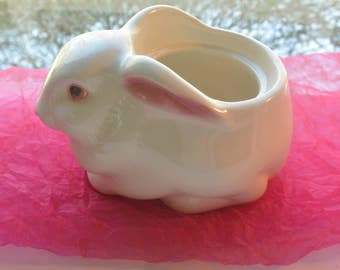 Avon Rabbit - Pottery, Hand Painted, Planter/Candle Holder - Vintage - Fabulous!