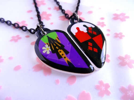 Joker and harley quinn bff necklace set for Harley quinn and joker jewelry