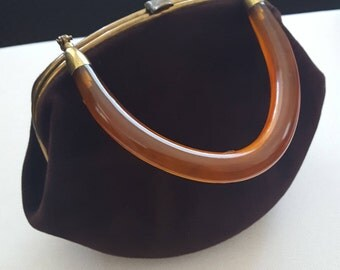 Vintage 1940s Morris Moskowitz Chocolate Velveteen Bakelite Handbag