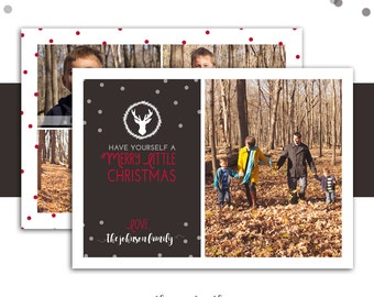 Rustic Christmas Card, Holiday Photo Card, Rustic, Farmhouse, Vintage, Christmas Card, Holiday Card, Red and Brown, Printable or Printed