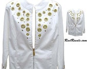 "Bob Mackie Jacket in Creamy White Cotton from the ""Wearable Art"" Collection - Fits Size Medium"