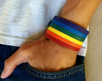 Gay pride, lgbt, gay pride bracelet, rainbow bracelets, lesbian, LGBTQ, gay pride leather bracelet, rainbow leather cuff, gay, rainbow cuffs