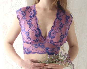 Lace Bra and Knicker Matching Set in Soft Berries. Handmade Lingerie from Brighton Lace. Lingerie Gift Set.