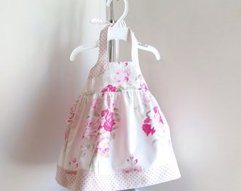 Baby 3-6mo Girl Summer Dress, Pink Floral, Baby Dress, Cottage Chic Fabric, Infant Sundress, Baby Girl Summer Clothes.