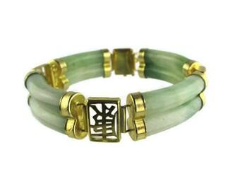 Double Tube Jade Bracelet/  Gold Tone  Fortune Chinoiserie / Asian Jade Dynasty Mandarin / Health Longevity Wealth Feng Shui / Asian Script
